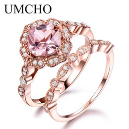 morganite sterling silver rings Australia - Umcho 925 Sterling Silver Ring Set Female Morganite Engagement Wedding Band Bridal Vintage Stacking Rings For Women Fine Jewelry MX190726