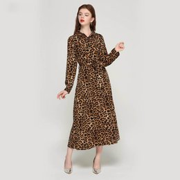 $enCountryForm.capitalKeyWord Australia - Women Leopard Print Ankle Length Dress Bow Tie Sashes Long Sleeve Ladies Casual Chic Dresses Vestidos Qa472 designer clothes
