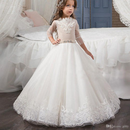 birthday frocks for babies UK - white Ball Gown lace Flower Girl Dresses for wedding pearls wasit jewel neck Glitz Infant Toddler Baby Kids Frock Design
