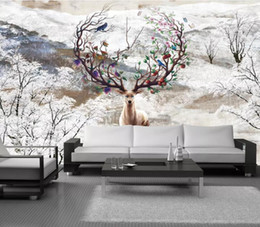 Custom Decor Wholesaler Australia - custom 3 d wallpaper for walls Oil painting, big tree, animal 3d wallpaper abstract living room bedroom murals new decor home