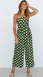 women s belts bow 2019 - 2019 Women Trendy Clothing Spaghetti Strap Polka Dots Jumpsuit Playsuit with Pockets Summer Green Wide-leg Pants Belted