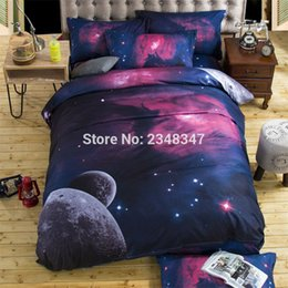 Discount king size 3d galaxy bedding - Fashion 4Pcs Single Twin Full Double Queen Size Bed Quilt Duvet Cover Set Sheet Pillowcases 3D Print Planet Stars Space