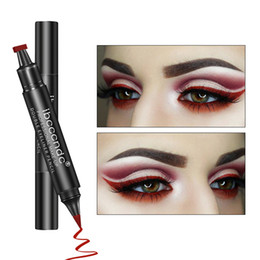 wings wear NZ - IBCCCNDC Brand Makeup Black Eye Liner Liquid Pencil Quick Dry Waterproof Black Double-ended Makeup Stamps Wing Eyeliner Pencil
