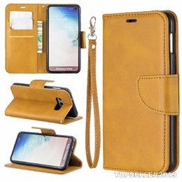 E Color Card Australia - For SAMSUNG S10 E Pure Color Sheep Pattern Leather Designer Phone Case Cover Stand Style Card Cash Wallet Design B182