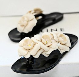 Models Flip Flops NZ - Camellia flip-flops female models sandals summer jelly three-dimensional camellia slippers women's sandals