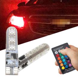$enCountryForm.capitalKeyWord Australia - 2x T10 SilicaGel RGB w5w LED Remote Controller RGBW 501 194 168 6SMD 5050 Festoon Dome Light Car Wedge Side Led DC 12V Car Bulbs