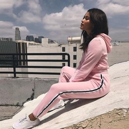 $enCountryForm.capitalKeyWord Australia - Sexy Fashion Women Active Sport Suit High Waist Pink Hooded+pants Velvet Warm Solid Fitness Jogging Mujer 2 Piece Navel Top