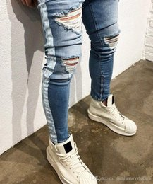 Striped Pencil Pants Australia - Mens Striped Light Blue Jeans Ripped Holes Distressed High Street KANYE West Pencil Jean Pants