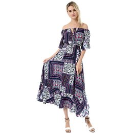 trumpet style maxi dress Australia - 2019 latest style women dress Bohemian Hot Dresses Sexy Off-Shoulders Trumpet Sleeve Fashion Printed Dress womens clothes maxi skirts beach