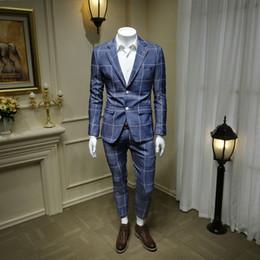 Blue Plaid Jacket Australia - XM GEEKI Mens Blue Plaid Suits Men Business Casual Suit Jackets English alphabet Men's Wedding Suits White Formal Blazer 365wt58