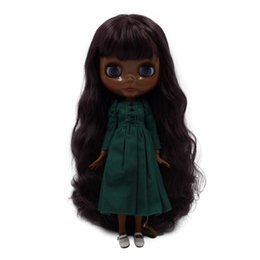 Icy Fortune Days Factory Blyth Doll No.bl12532 Nude Doll With Super Dark Skin Wine Red Curly Hair And Glossy Face Joint Body Dolls
