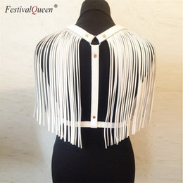 white harness top NZ - Festivalqueen Women Back Pu Leather Tassel Tank Tops 2018 New Gothic Adjustable Body Harness Bondage Belt Crop Top Black White Y190509