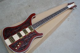 Wholesale Factory Custom New Rosewood Fingerboard Red Electric Bass Guitar with Golden hardware,CNC engraving pattern,3 Pickups,offer customize
