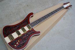 FABBRICA CUSTOM CUSTOM New Rosewood Fingerboard Red Electric Bass Chitarra con hardware dorato, modello di incisione cnc, 3 pickup, offerta Personalizza in Offerta