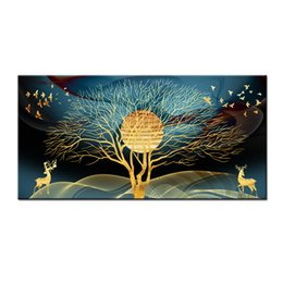 Watercolor Paintings Birds Australia - Wall Art Gifts Modern Feng Shui Abstract Gold Tree, deer and bird Painting Printed On Canvas Picture Living Room office Home Decor BFS4029