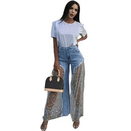 $enCountryForm.capitalKeyWord UK - Casual Lace Mesh Star Print Spliced Jeans Women Sexy Ripped Burr Tansparent High Waist Jeans Elegant Denim Wide Leg Long Pants Y190430