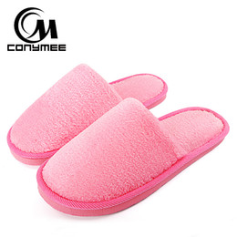 d3af933e118 CONYMEE Home Slippers Women 2018 Winter Shoes Fluffy Slipper Candy Color  Warm Plush Terlik Pantuflas Woman Indoor Cotton Shoe