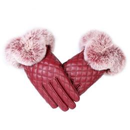 $enCountryForm.capitalKeyWord UK - KUYOMENS Fashion Women Warm Thick Winter Gloves Leather Elegant Girls Brand Mittens Free Size With Rabbit Fur Female Gloves D19011005