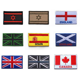 Wholesale Country Flag Patches Special Embroidered Spain UK British Scotland flag military patch stripes for Clothes with Hook Loop