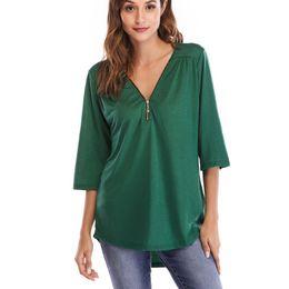 $enCountryForm.capitalKeyWord NZ - Women Shirts Womens Clothing T Shirt Tops Half Sleeve Regular Casual V-neck Tshirt Plus Size Clothes Y19051301