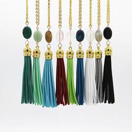 $enCountryForm.capitalKeyWord Australia - Boho Design Summer Style Long Tassel Necklace For Women Leather Tassel Natural Stone Necklace Sweater Chain Fashion Jewelry