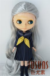 Wig Grey Australia - 9-10inch Alice Fantasy Synthetic Mohair Wigs Doll Hair for Blythe BJD Doll Accessories Grey and Blond Wig JD028