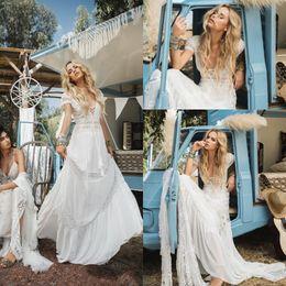 $enCountryForm.capitalKeyWord Canada - Vintage Bohemian Beach 2019 Wedding Dresses Country V Neck Lace Appliqued Short Sleeves Bridal Gowns Beach Sweep Train Boho Wedding Gown