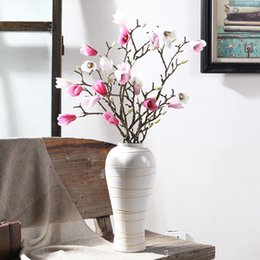 wholesale artificial magnolia flowers UK - 88cm Artificial Magnolia Flower Branch Home Garden Office Bedroom Living Room Decoration Party Supplies flores artificiais
