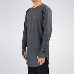 Long Curved Hem T Shirt Australia - Mens Hip Hop T Shirt Full Long Sleeve T -Shirt With Thumb Hole Cuffs Tees Shirts Curve Hem Men Street Wear Tops
