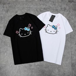 42f8dd20d3be0 2019 New Arrival Fashion Summer Pure Cotton Short Sleeves T-Shirts Lovely  Hello Kitty Cartoon High Quality T-Shirts White Black White S-XL