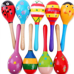 Baby Musical Cartoon Rattles Wooden Australia - 20PCS Hot Sale Baby Wooden Toy Rattle Baby cute Rattle toys Orff musical instruments Educational Toys