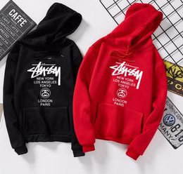 Brand Mens Women Stussy Hoodie Street Hip Hop Printing Hoodies Loose Couple Cotton Tops Classic Black Luxury Pullovers Free shipping