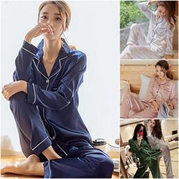 1ff501feaf Fashion Women Sexy Satin Silk Sleepwear Pajama Sets Autumn Winter Long  Sleeve Single Breasted Shirts Long Pants Comfy 2Pcs Sets