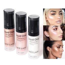 Face Glow Cream Australia - LADY Face Highlighter Cream Liquid Illuminator Makeup Shimmer Glow Kit Make Up Facial Brighten Shine Brand Cosmetic
