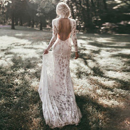 Wholesale backless collared shirt resale online - Robe De Mariage Long Sleeves Wedding Dresses Boho High Neck Exquisite Lace Backless Chic Wedding Dress Bridal Gowns