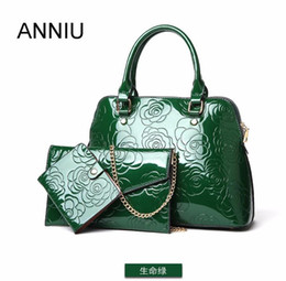 chinese ladies handbags NZ - ANNIU New Fashion Women Patent leather handbags 3 set designer ladies Vintage Chinese style 3D Flower print bag Composite Bag
