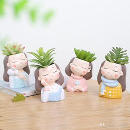 $enCountryForm.capitalKeyWord Australia - Originality Wreath Girl Flower Pot New Product Fleshiness Potted Plant Rabbit Resin Decoration Desktop Eco Friendly More Colors 12 5ltC1