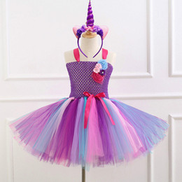 $enCountryForm.capitalKeyWord Australia - Flower Girls Unicorn Tutu Dress With Headband Fancy Girl Party Dress Rainbow Tulle Princess Dress Kids Halloween Costume
