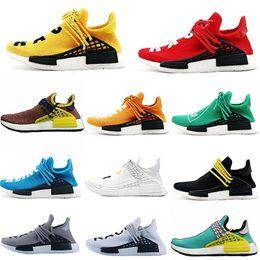 Discount sample shoes men - 2019 new NMD Human Race With Box Pharrell Williams Sample Yellow Core Black Designer men fashion luxury mens women desig