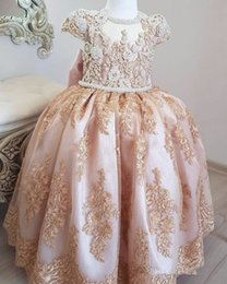 $enCountryForm.capitalKeyWord Australia - Little Queen Sequin Flower Girls Dresses Scoop Cupcake Ball Gown Kids' Christening Party Gowns Cheap