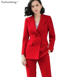 Ol Work Suits Australia - 2019 New office work blazer suits of high quality OL women pants suit blazers jackets with trouser two pieces set red pink blue T190611