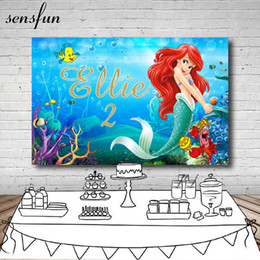 paintings little girls Australia - Sensfun Girls Little Mermaid Photography Backdrop Custom Name Years Under The Sea Fish Bubble Backgrounds For Photo