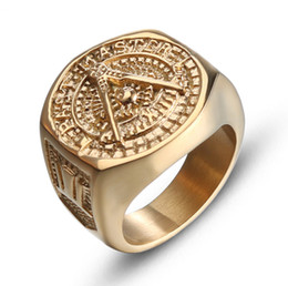 Free masons rings online shopping - Men s Classic L Stainless Steel Religious Ring Freemasonry Free and Accepted Masons Jewelry Punk Style Viking Ring IP Gold Plated