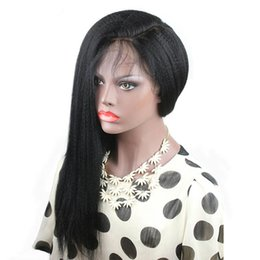 Yaki curlY wig online shopping - 150 Density Full Lace Wig Kinky Straight Pre Plucked Harline Side Part Glueless Italian Yaki Lacefront Wigs Brazilian Remy Hair For Women