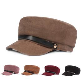 wholesale ladies sun visor hats 2019 - Fashion Corduroy Hats Women Lady Girl Sun Visor Hat British Casual Style Cotton Sunshade Octagonal Cap For Lovers cheap