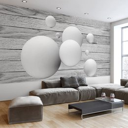 home decor drop ship Australia - Drop Shipping Custom Mural Wallpaper Home Modern Simple 3D Geometric Round Ball Wood Grain TV Background Wall Decor Painting