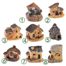 Carino Mini Stone House Fairy Garden Miniature Craft Micro Cottage Paesaggio Decorazione per DIY Resin Artigianato 8 stili MMA1634