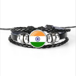 India Alloys Australia - Europe Leather Rope Bead Bracelet Simple All-Match India National Flag World Cup Football Fan Time Gem Glass Cabochon Jewelry Women Men Gift