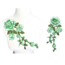 China 29CM Embroidered Sew On Patch Rose Flowers Light Green 3D Peony Wedding Appliques Lace Trims For Bride Evening Dress DIY Decoration suppliers