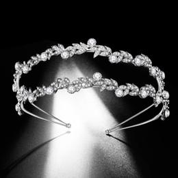 Double crown hair online shopping - Luxury Double Rhinestone Leaf Bridal Tiaras Crown Baroque Crystal Diadem Bride Headbands Wedding Hair Jewelry Dress Accessories